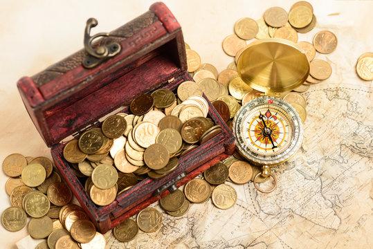 treasure chest map money compass