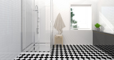 bathroom interior,toilet,shower,modern home design clean wall 3D Illustration for copy space white background