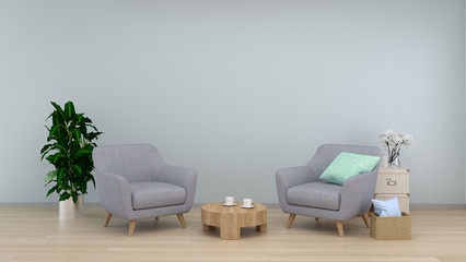 Interior room,armchair in living room interior background,sofa in empty wall and ornamental interior background,3D  illustration  and sofa copy space minimal 3d illustration