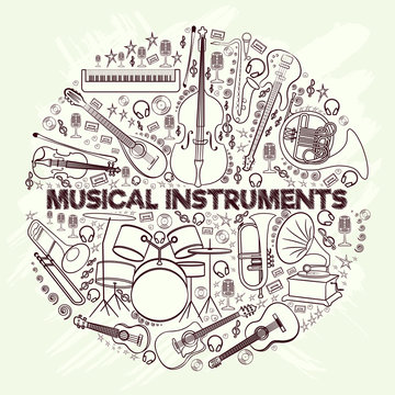 Musical instruments in a circle-01