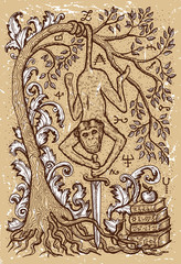 Monkey symbol with sword, book, baroque decorated tree and mystic signs on old texture background. Fantasy engraved illustration. Zodiac animals of eastern calendar, mysterious concept