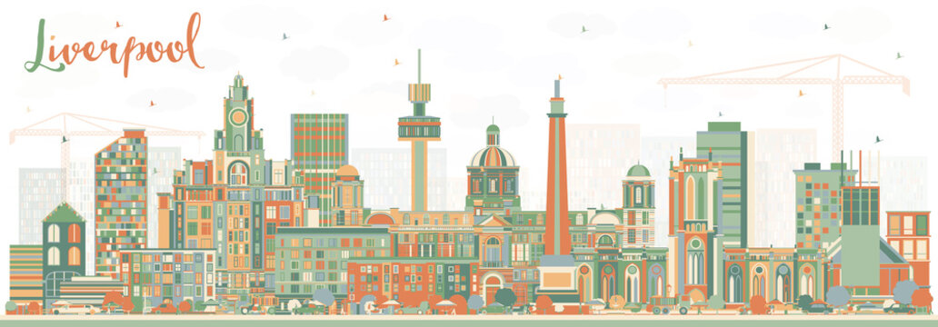 Liverpool Skyline with Color Buildings.