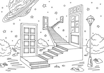 Doors space landscape graphic black white sketch illustration vector