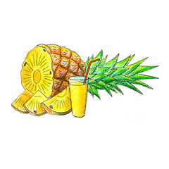 Juicy pineapple fruit with glass of juice