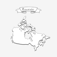 Hand drawn doodle Canada country map icon Vector illustration isolated on white background Canadian outer borders symbol Cartoon ribbon band element