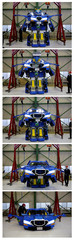 "Combination picture shows a new transforming robot called ""J-deite RIDE"" that transforms itself into a passenger vehicle, developed by Brave Robotics Inc, Asratec Corp and Sansei Technologies Inc, demonstrating during its unveiling at a factory near Tokyo"