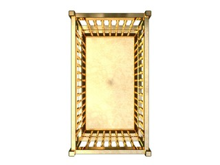 3d rendering of a golden bed isolated on a white background
