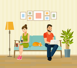 Man, woman and cat sitting on the couch with notebook and smartphone. Vector flat illustration
