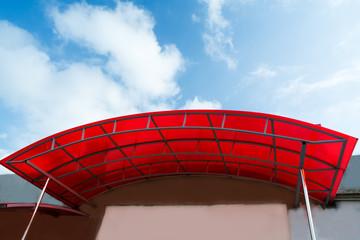 Fototapeta polycarbonate canopy on the porch of the house obraz