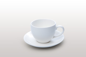 White empty cup of coffee on white or gray background with clipping path on object, height quality cup of coffee for print and webpage, graphic design for put coffee inside cup