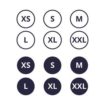 Cloth, shirt, dress or apparel sizes icon or logo set