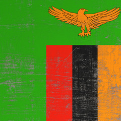 Scratched Republic of Zambia flag