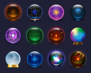 Magic ball vector magical crystal glass sphere and shiny lightning transparent orb as prediction soothsayer illustration magnificent set isolated on background