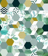 Trendy seamless background pattern with hexagon tiles in green, eps10