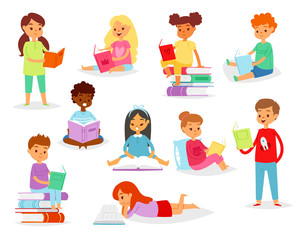 Kids reading books vector child character boy or girl read textbook with bookmark illustration set of educated children sitting in library isolated on white background