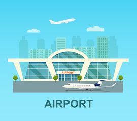 Airport building exterior with jet, airplane and city. Vector flat style illustration