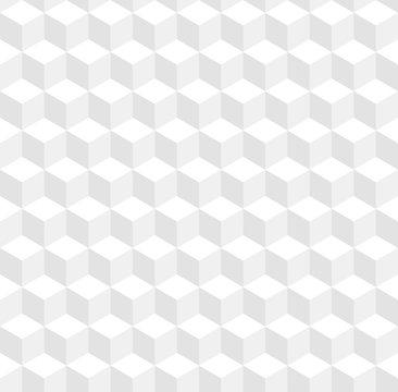Seamless geometric 3d vector pattern. White volume cubes