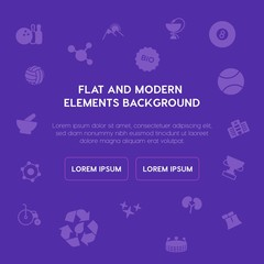 health, science, sports, nature fill vector icons and elements background concept on purple background.Multipurpose use on websites, presentations, brochures and more