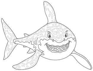Friendly smiling great white shark attacking, black and white vector illustrations in a cartoon style for a coloring book