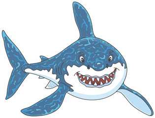 Friendly smiling great white shark attacking, vector illustrations in a cartoon style