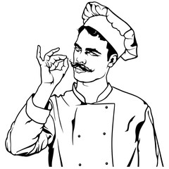 Chef Gesture Delicious - Black and White Sketch Illustration, Vector