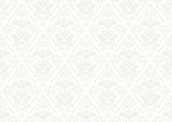Silver Wallpaper with Damask Pattern - Repetitive Seamless Background Illustration, Vector