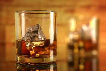 Chilled Whiskey Glass with Ice Cubes with Bokeh