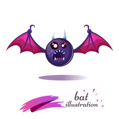 Funny, cute, crazy cartoon bat. Fear and horror illustration. Vector eps 10