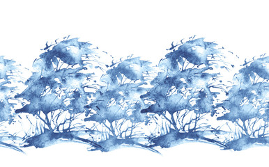 Seamless watercolor background, border. Watercolor forest, blue silhouette of trees, bushes, Field. Country view. Postcard, banner, logo, card. Splash of paint. Art illustration