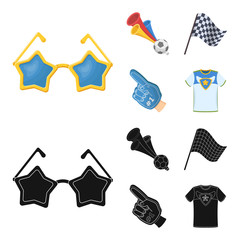 Pipe, uniform and other attributes of the fans.Fans set collection icons in cartoon,black style vector symbol stock illustration web.