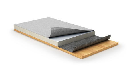 roof waterproofing system or flat roof. 3d illustration