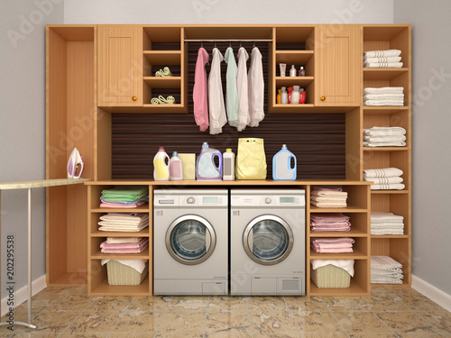 design room for washing and cleaning 3d illustrator fotolia com の