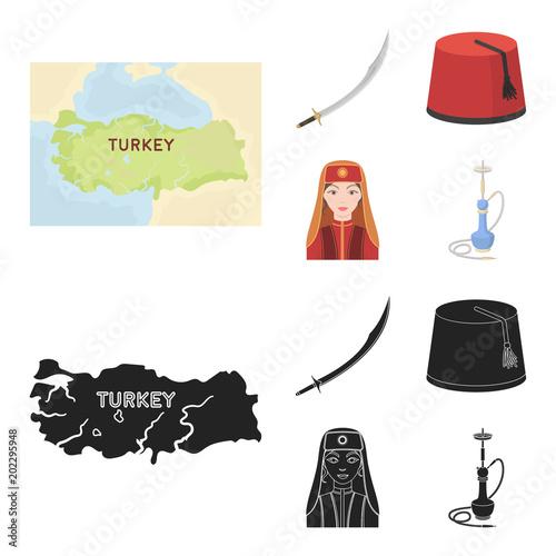 Turkish fez, yatogan, turkish, hookah Turkey set collection
