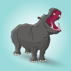 angry hippopotamus cartoon character eps 10 vector