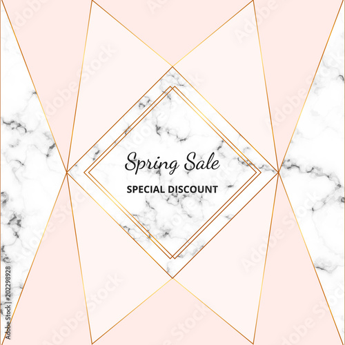 Modern Placard With Marble Texture And Pastel Pink Color Gold Lines
