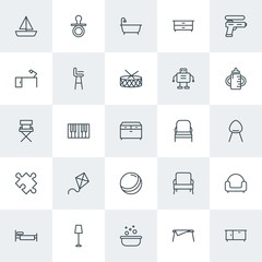 Modern Simple Set of furniture, kids and toys Vector outline Icons. Contains such Icons as  child,  clothes,  single, bedroom,  clothing and more on white background. Fully Editable. Pixel Perfect.