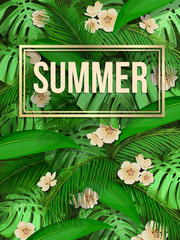Summer background of exotic leaves with gold frame. Vector poster with tropical palm leaves, banana, monstera and flowers for web page backgrounds, wallpapers, textures, textiles with text space.