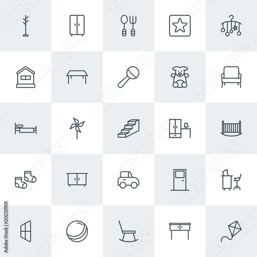 Modern Simple Set of furniture, kids and toys Vector outline