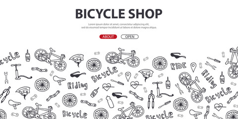 Doodle vector illustration of bicycle. Concept of biking lifestyle and adventure for web banners, printed materials