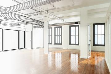Leere Bürofläche (Planung)