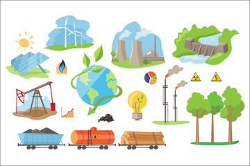 Alternative electricity production icons. Environmentally eco-friendly sources of power. Flat vector elements