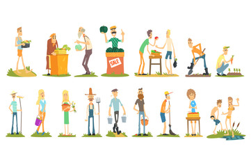 Flat vector set of farmers doing their job selling vegetables, cultivating, gardening and harvesting. Young and old people