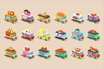 Colorful flat vector set of isometric food trucks. Vans with ice-cream, doughnut, burger, pretzel, pizza, hot dog, french fries and soda on roof