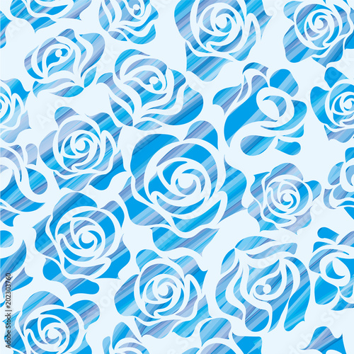 バラのイラスト筆タッチ ブルー薔薇の模様の連続柄シームレス