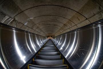 Underground Metro subway moving escalator in washington dc