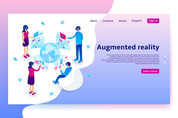Virtual augmented reality concept. Modern Concept of with people learning different information in VR glasses. Vector Illustration with isometric men and women.
