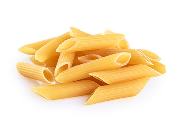 Penne rigate pasta isolated on white background. Raw.