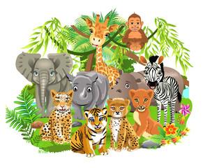 jungle animals like elephant, zebra, giraffe, lion, tiger in the tropical forest