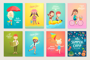 Summer Kids card set, swimming, playing on the beach, camping and having fun