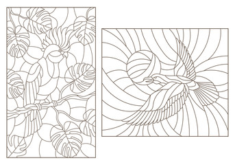 Set contour illustrations of stained glass with birds, a parrot on the branches of plants and the crows against the sky , dark outlines on a white background